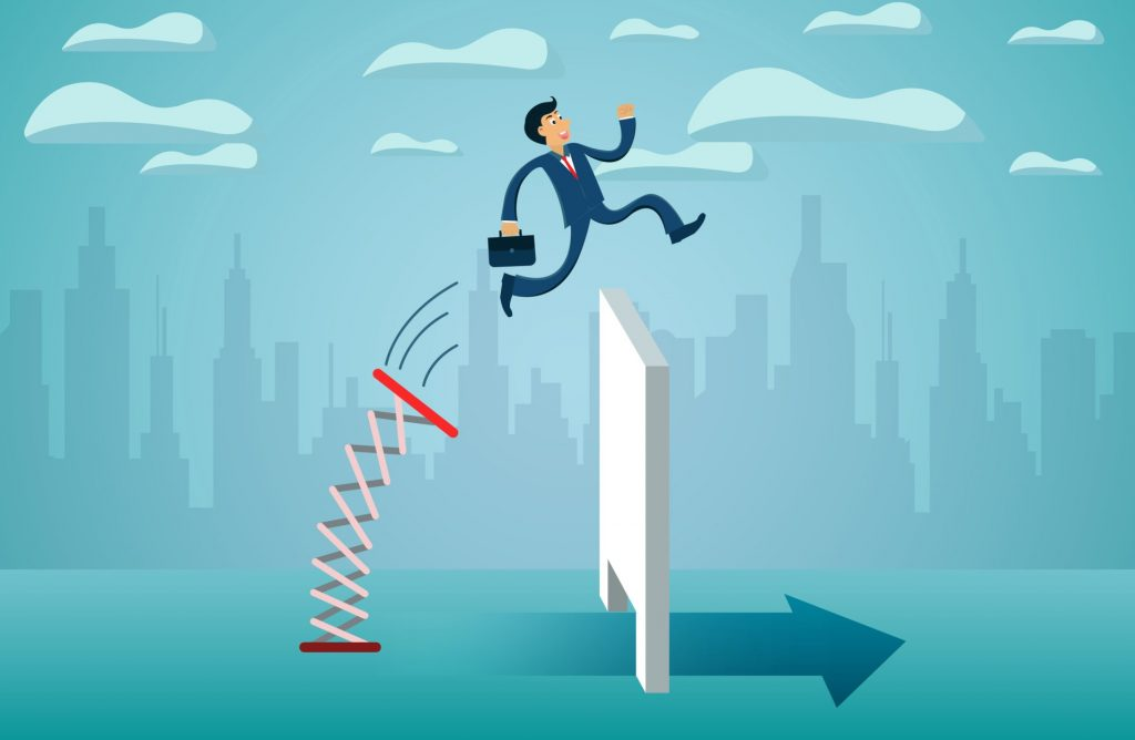 business finance concept. Businessmen jumping from springboard A